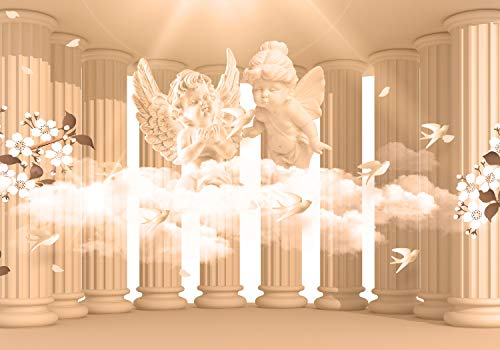 (wandmotiv24 Wall Mural Sepia Columns Angel Flower Cloud Pillar Antique Room Extension Mystic M3750 M 98.4 x 68.9 inches - 5 Parts Mural - Motif Wallpaper)