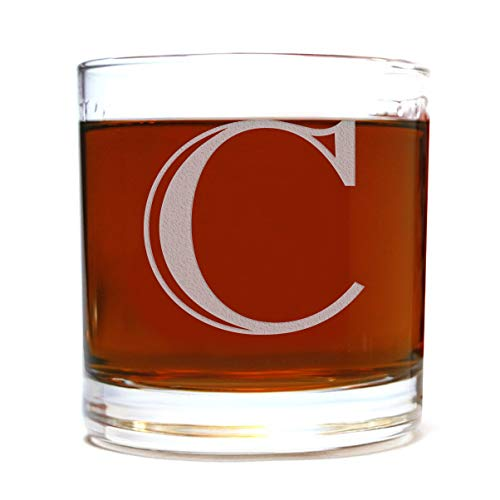 Etched Monogram 10.5oz Rocks Old Fashioned Lowball Glass for Whiskey Scotch Bourbon (Letter - Old Etched Glasses Fashioned