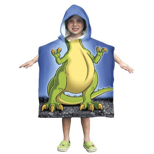 Dawhud Direct Kids T-Rex Dinosaur Cotton Hooded Poncho Bath/Beach Towel