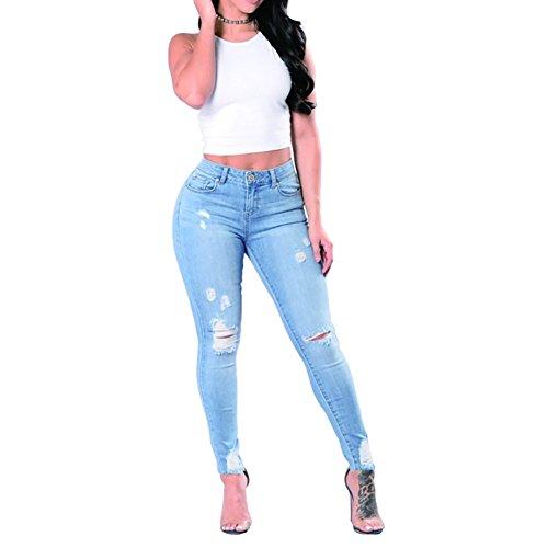 - VICVIK Skinny Denim Sexy Hole Jeans for Women Flare Tron Stylish Rock Roll Elastic Jean Pants (S, Light Blue)