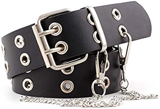 Womens Punk Wide Hole Grommet PU Leather Belts Waistband with Metal Chain