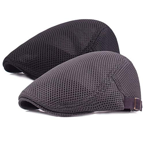 2 Pack Men Breathable Mesh Summer Hat Newsboy Beret Ivy Cap Cabbie Flat Cap (Black/Grey)