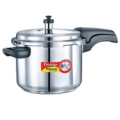 Prestige 6.5L Alpha Deluxe Induction Base Stainless Steel Pressure Cooker, 6.5-Liter