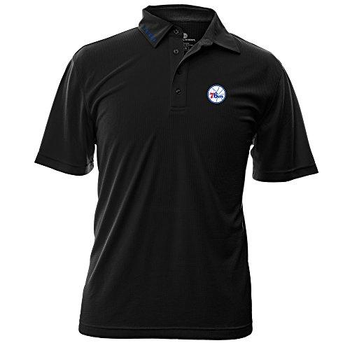 NBA Philadelphia 76Ers Men's Surface Wordmark Polo Shirt, Medium, black