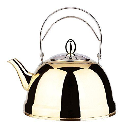 Tea Pot Gold with Infuser Loose Tea for Stove Top 18/10 Stainless Steel Coffee Kettle 6 Cup Quick Boil Sturdy Small Teapot Hot Water Mirror Finish 1.5 Liter / 1.6 Quart 51 Ounce by Onlycooker