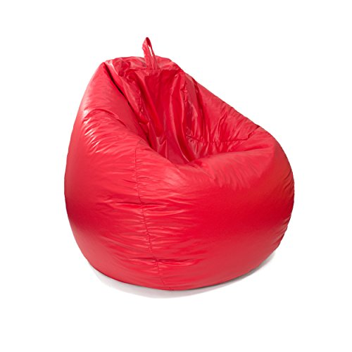 (Gold Medal Bean Bags Leather Look Tear Drop Bean Bag - Red)