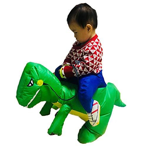 Boys Dinosaur Costume Inflatable T-rex Mascot Cosplay Dress Teenages Green]()