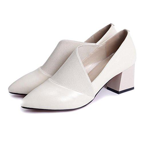 LLP Femmes Chaussures en Cuir Véritable Chaussures Simples Rough with in Dans Le Talon Pointu Bouche Peu Profonde Chaussures Bas Lieu de Travail Salle de Bal White MqVZ8tz8