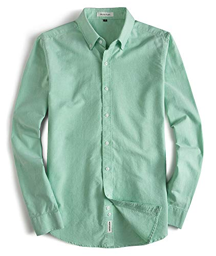 MUSE FATH Men's Button Down Dress Shirt-Cotton Casual Long Sleeve Shirt-Party Dress Shirt-Light Green-XXL ()