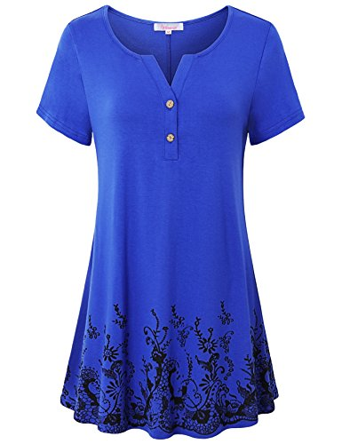 Misswor Short Sleeve Shirts for Women, Juniors Tops Henley V Neck Button-up Draped Flow Hem Relaxed Fit Flare Floral Printed Embellished Pullover Tunic Dress Shirts Summer Royal Blue - Embellished Tunic Printed