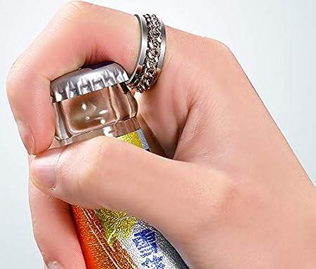Tingz 4Pcs de Anillos de Dedo abridor de Botellas,Herramienta de sacacorchos de Anillos de Cadena portátil Regalo Creativo Anillo Giratorio de Acero de Titanio con Cadena(8mm,Dos Colores y tamaños)