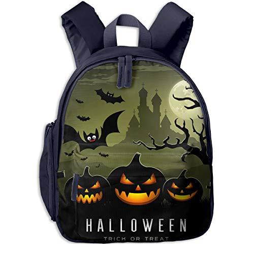 Happy Halloween Full Moon Tree Pumpkins Double Zipper Waterproof Children Schoolbag With Front Pockets For Youth Boy Girls ()