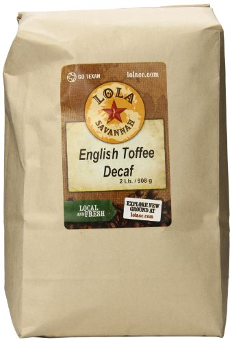 Lola Savannah English Toffee Ground Coffee - Harmonized Blend of Roasted Almonds and Buttery Caramelized Toffee | Decaf | 2lb Bag ()