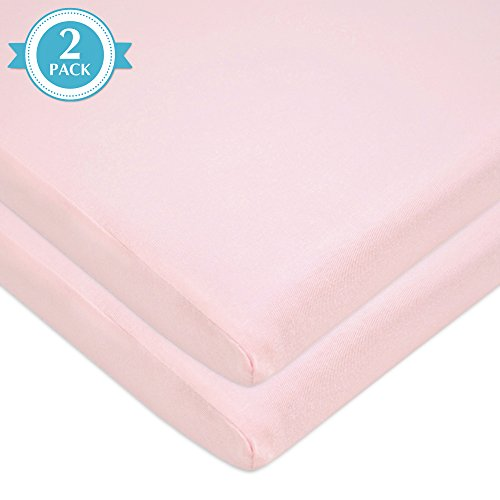 American Baby Company 2 Pack 100% Natural Cotton Jersey Knit 18 x 36 Cradle Sheet - Fitted, Pink, Soft Breathable, for Girls