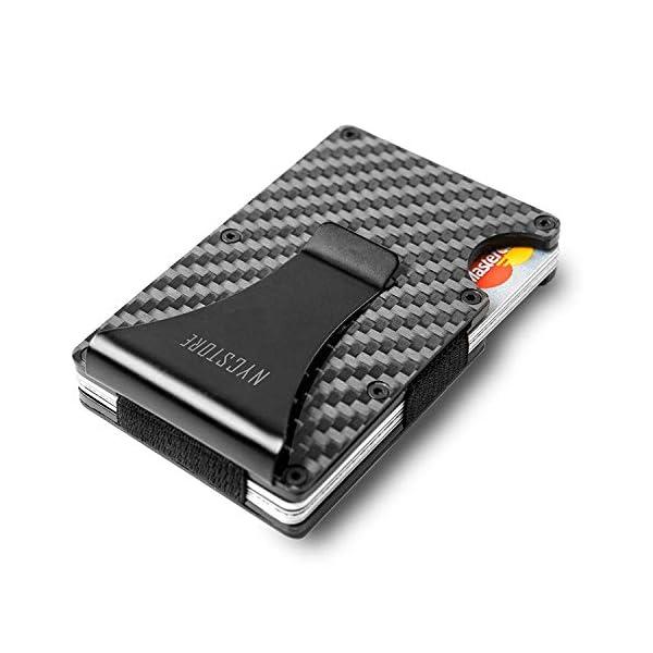Carbon Fiber Slim Wallet | RFID Minimalist Wallet | Carbon Fiber Money Clip | Card Holder Wallet for Men and Women | Fiber Wallets | Slim Wallet | Cash Money Clip | 2018 New Version
