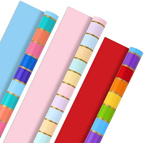 Hallmark All Occasion Reversible Wrapping Paper Bundle - Rainbow Stripes and Solid (3-Pack: 75 sq. feet. ttl.) for Easter, Mothers Day, Birthdays, Weddings, Bridal Showers, Baby Showers and More