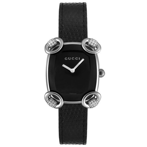 Gucci Women's Swiss Quartz Stainless Steel and Leather Casual Watch, Color:Black (Model: YA117505)