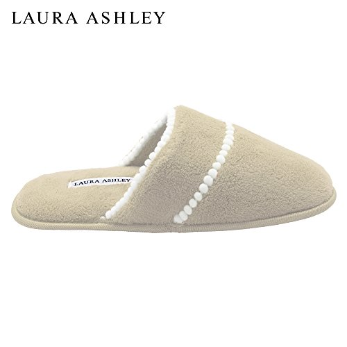 Tan Pom Scuff Ashley Soft Terry Laura Ladies Trim Slipper Uw8SExqx4