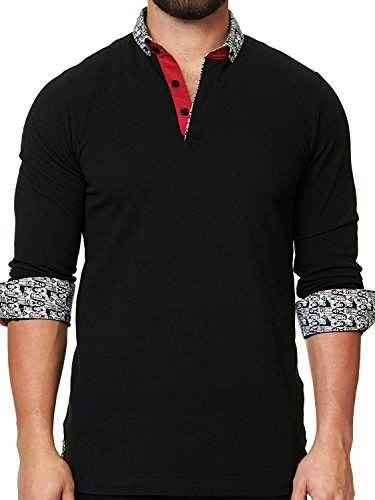 Luxury Pima Classic Knit Shirt (Mens Designer Polo - Stylish & Trendy Sport Shirts - Solid Black - Tailored Fit)