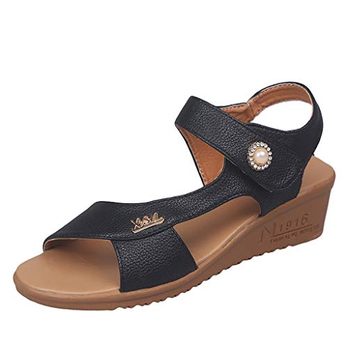 (Women's Casual Summer Walking Sandals, MmNote Outdoor Faux Leather Noble Comfortable Slide Summer Sandals Black )