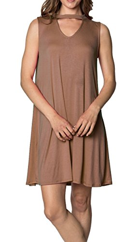 Womens Sleeveless Tunic Swing Dress - Basic Casual loose Tank Dresses, (Mocha-S)