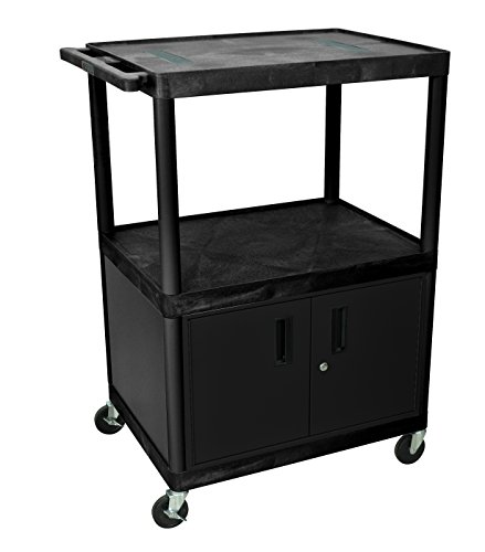 LUXOR LE48C-B Endura 3-Shelf Cart with Cabinet, Black ()