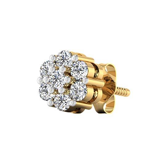 IskiUski 18KT Yellow Gold and Diamond Stud Earrings for Men