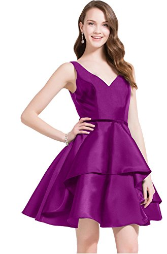 9fd5388918 Confortable Dress   Women s Dresses and Shoes Online Beauty Bridal Womens V  Neck Satin Prom Dresses Short Homecoming Evening Party Gowns Fuchsia