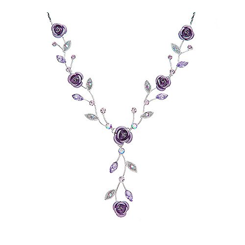 Glamorousky Violet Rose Necklace with Violet Austrian Crystals and Crystal Glass (970) (Glass Crystal Violet)