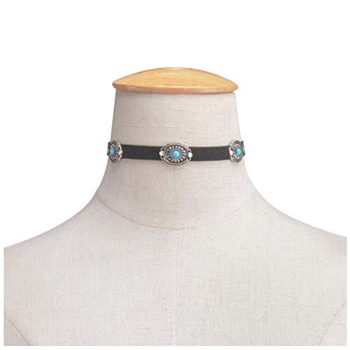 Yfe Bohemia Turquoise Choker Necklace Leather Choker Jewelry Suede Choker Jewelry Boho Charm