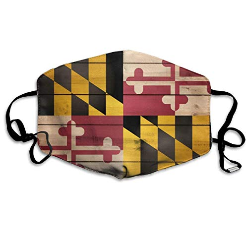 Maryland State Flag Wood Texture Anti-dust Mouth Mask Face Masks Mouth Cover for Man and Woman