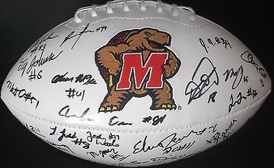 2015 Maryland Terrapins Team Autographed Signed Logo Football COA Z
