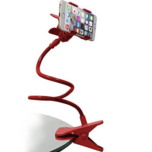HOOSUN Gooseneck Flexible Long Arms Cell Phone Clip Holder Stand, Lazy Bracket for for iPhone, GPS Devices,Fit On Desktop Bed Mobile Stand for Bedroom, Office,Bathroom, Kitchen (Red)