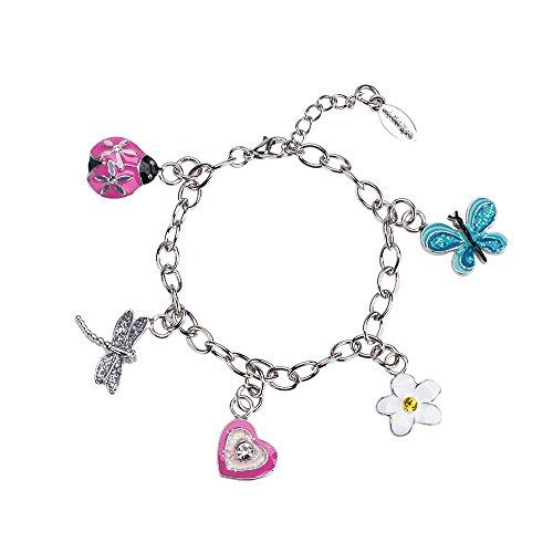 minihope Bangle Bracelets for Kids Girls, Butterfly Heart Ladybug Pendant Bracelet Bangles for Girls, Charm Bangle Bracelet