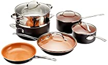 Gotham Steel 1129 Pots and Pans 10 Piece Cookware Set with Nonstick Ceramic Coating by Chef Daniel Green – Graphite, Fry, Stock Steamer Insert