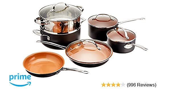 Gotham Steel 10-Piece Kitchen Set with Non-Stick Ti-Cerama Coating by Chef Daniel Green - Includes Skillets, Fry Pans, Stock Pots and Steamer Insert - Graphite
