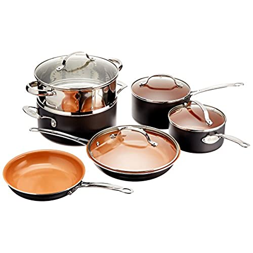 Gotham Steel 10 Piece Kitchen Set With Non Stick Ti Cerama Coating By Chef Daniel Green Includes Skillets Fry Pans Stock Pots And Steamer Insert