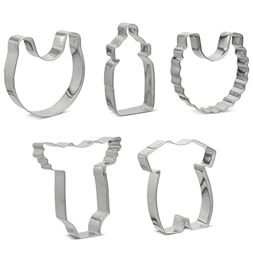 Baby Shower Cookie Cutters Set of 5 Stainless Steel Professional Quality Includes Baby Bib, Frilly Baby Bib, Baby Bottle, Baby Onesie & Frilly Shoulder Baby Suit Cookie Cutters - Baking Accessories