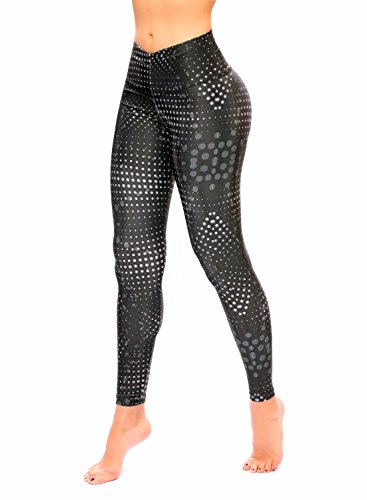 Women Black And Gray Printed Leggings With Slim And Tone Control By Bon Bon Up