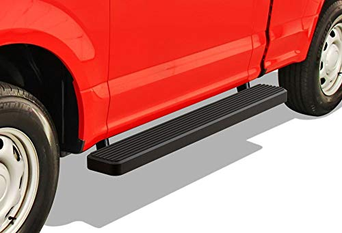 APS iBoard Running Boards 6 inches Matte Black Custom Fit 2015-2019 Ford F150 Regular Cab Pickup 2-Door & 2017-2019 Ford F-250 F-350 Super Duty (Nerf Bars Side Steps Side Bars)