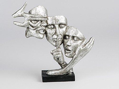 Exklusive Deko Büste Skulptur Paar aus Keramik in schwarz/silber Höhe 37cm