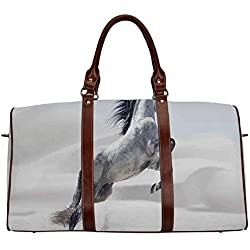"""Horses Women's Travel Bag,Silver Pony Horse Galloping over Motion Majestic Wild Animal Power and Grace Theme for Ladies,18.62""""L x 8.5""""W x 9.65""""H"""