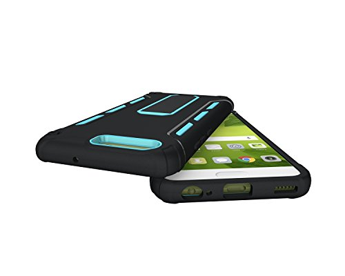 Funda Huawei P10,Saincat TPU Silicona con Diseño 3D Carcasa Case con Stand Holder Bumper Case con integrado Soporte Soporte Anti-Drop Shockproof Slim Funda caso Parachoques Silicona Transparente TPU p Azul