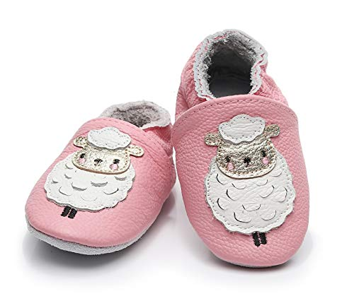"Bebila  Baby Boys Girls Shoes Leather Baby Moccasins Soft Soled Infant Crawling Slippers for 0-24 Months  (US 6.5/5.31""/ 12-18months/see Size Chart, Sheep)"