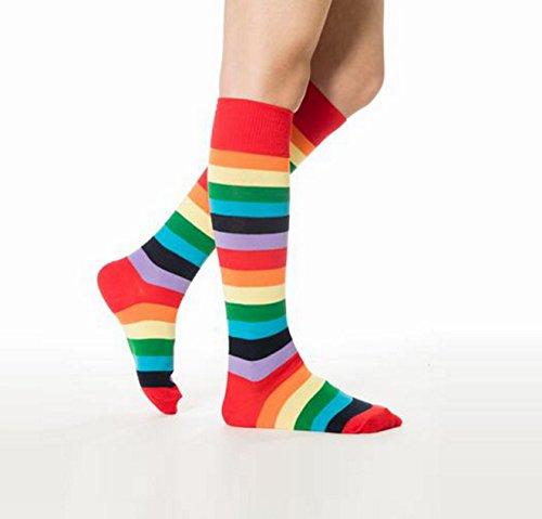 ciel Acvip À Haute Jambiere en Bas Arc Chaussettes Rayure Elastique Femme Multicolore OwO0q6