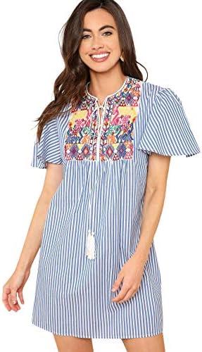 Floerns 여성용 반소매 줄무늬 자수 태슬 타이 넥 드레스 / Floerns 여성용 반소매 줄무늬 자수 태슬 타이 넥 드레스