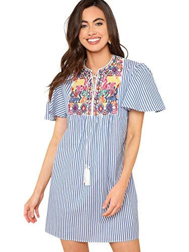 Floerns Women's Short Sleeve Striped Embroidered Tassel Tie Neck Dress Blue XS