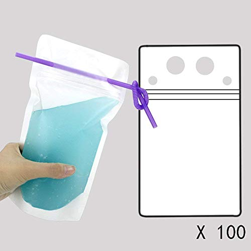 TOMNK 100pcs Clear Drink Pouches Bags Smoothie Bags Reclosable Zipper Heavy Duty Hand-held Translucent Stand-up Plastic Pouches Bags Drinking Bags 2.4'' Bottom Gusset with 100pcs Straws by TOMNK (Image #1)