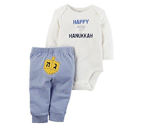 Carter's Baby 2 Piece Long Sleeve Hanukkah Bodysuit and Pants Set Blue 6 ()