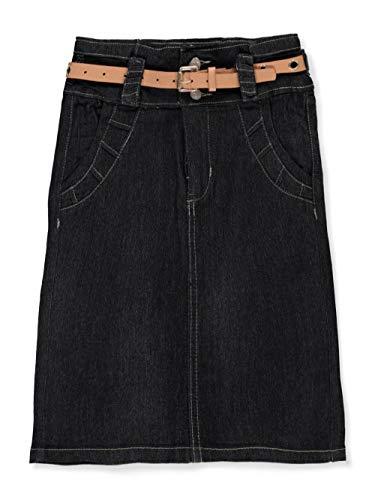 No Fuze Big Girls Belted Denim Pencil Skirt - Black, 8
